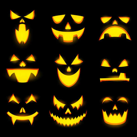 Scary pumpkin faces isolated vector icons, Halloween monster emoticons, jack lantern, vampire angry and happy expressions, glowing spooky evil eyes, teeth and creepy smiles, funny creatures emoji set 矢量图像