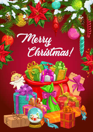 Christmas tree and Santa gifts in bag, winter holidays vector ornaments and decorations. Merry Christmas wish, poinsettia and snow on Xmas tree branches, angel toy and snowflakes in crystal ball