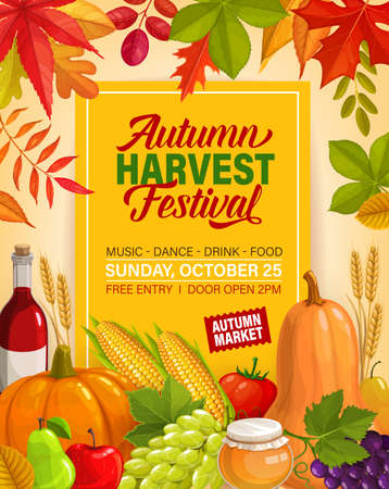 Autumn harvest festival vector flyer with pumpkins, grapes and honey. Invitation for Thanksgiving day celebration, cartoon card with fall crop, maple, birch, poplar and rowan leaves, wheat ears, wine