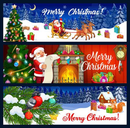Merry Christmas vector greeting banners. Santa, Xmas tree and gifts, reindeer sledge, fireplace and present boxes, stars, candy canes and balls, lights, socks and wish list, pine branches and clock