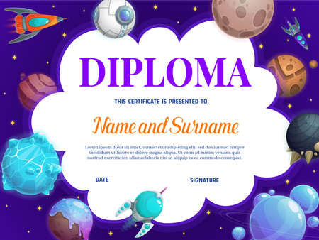 Education school diploma with vector, rockets and planets. Kindergarten certificate with futuristic galaxy world. Kids design with shuttles in deep space, achievement award frame cartoon template