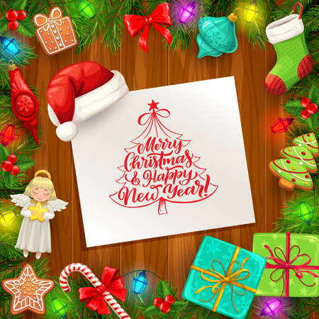 Christmas and New Year vector greeting card with frame of Xmas tree and gifts on wooden background. Present boxes with ribbons and bows, Santa hat, candy canes and gingerbread, holly and pine branches 向量圖像