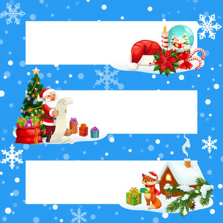 Christmas banners with snowflakes and copy space vector design. Xmas tree, gifts and Santa with wish list, red hat and bag, snow and winter holiday presents, candy cane, candle and poinsettia Ilustração