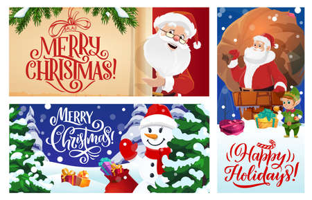 Merry Christmas greeting cards or vector posters set. Cartoon Santa Claus with snowman and elf helper, fir-trees or spruce and gift boxes lying on snow. Santa holding scroll, sack with Xmas presents