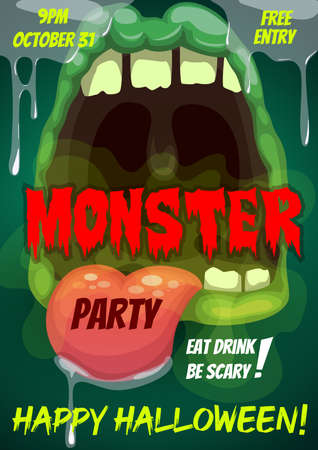 Happy Halloween party vector flyer with monster mouth, cartoon invitation poster with open zombie toothy jaws teeth, tongue and dripping slime. Halloween party, event invite with creepy monster Illustration