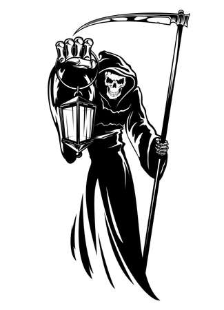 Reaper with scythe and lantern. Grim death wearing black chlamydia with hood. Skeleton character in cape for Halloween, religion symbol, tattoo design or tshirt print isolated on white background.