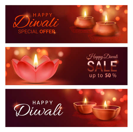 Diwali light festival sale offer banners with vector diya lamps of Indian Deepavali. Discount price special offers with Hindu religion holiday oil lamps, festive rangoli decorations and bokeh lights