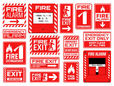 Fire emergency signs vector design of fire exit, extinguisher, alarm button and pull station, safety and evacuation icons. Red and white warning symbols with human figures, arrows, flames and doors