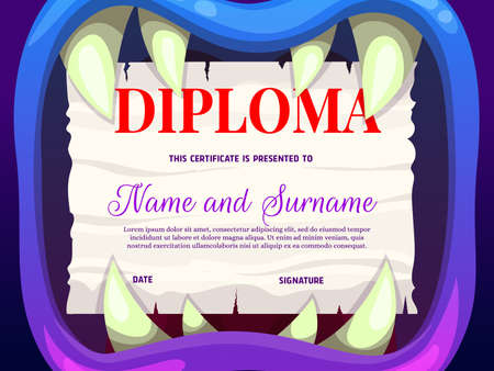 Education school diploma with monster mouth vector template, kindergarten certificate with cartoon jaws, sharp teeth and ragged paper. Kids diploma, award frame or invitation to Halloween party