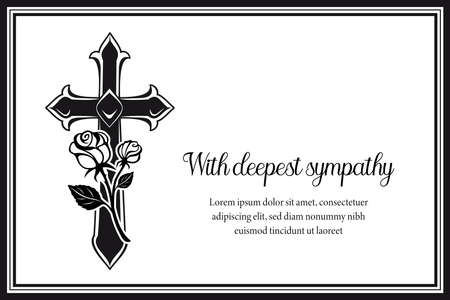 Funeral card with gothic medieval cross and roses. Funerary condolence banner, obituary memorial vector cart with black frame, Christian cross, engraved flowers and typography on white background