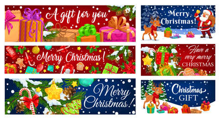 Christmas gift vector greeting banners. Santa and reindeer with winter holiday presents, Xmas trees and bells, snow, stars and candy canes, holly berry, balls and gingerbread, snowflakes, ribbon bows Ilustração