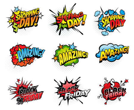 Comics bubbles for shopping day and black friday isolated vector icons. Cartoon pop art retro sound cloud blast explosion with stars, percent and dollar. Boom bang colorful half tone amazing signs set