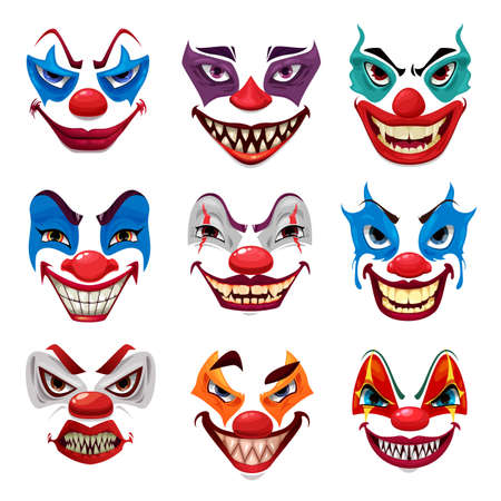 Scary clown faces, vector funster masks with makeup, red nose, angry eyes and creepy smile with sharp teeth isolated on white background. Halloween party characters emoticons, horror creatures emojis Illustration