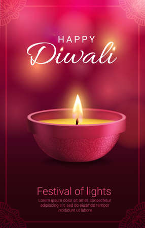 Diwali diya lamp with vector frame of rangoli decoration. Indian festival of light and Hindu religion holiday greeting card with oil lamp or candle lantern, fire flames and paisley flower ornaments