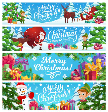 Merry Christmas vector banners set. Cartoon Santa Claus riding deer sledge in winter forest, snowman and elf helper near fir-trees or spruce with gift boxes on snow. Santa hold sack with Xmas presents