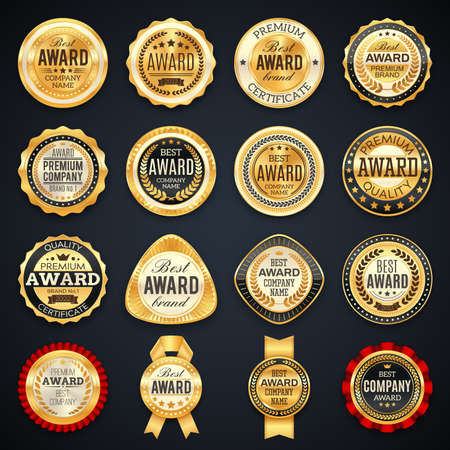 Award and quality labels vector emblems with golden frames, stars, laurel branches, crowns and ribbons. Best company or brand awards, product badges luxury design icons or stamps isolated icons set