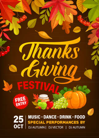 Thanks Giving festival vector flyer with crop of pumpkin, grapes, honey and apples with pears. Invitation for Thanksgiving day party celebration with fall leaves maple, poplar and oak or rowan poster Illustration