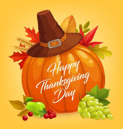 Thanksgiving Day vector design with autumn harvest holiday pumpkin, fallen leaves and pilgrim hat. Orange pumpkin, maple leaves and grapes, wheat and cranberries, Happy Thanksgiving Day greeting card 向量圖像