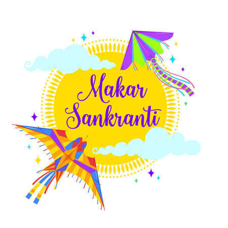 Makar Sankranti kites, sun and clouds, vector Indian festival of Hindu religion. Bird and moth kites, flying paper toys of harvest fest with colorful tails, ribbons and wings, greeting card design Vetores