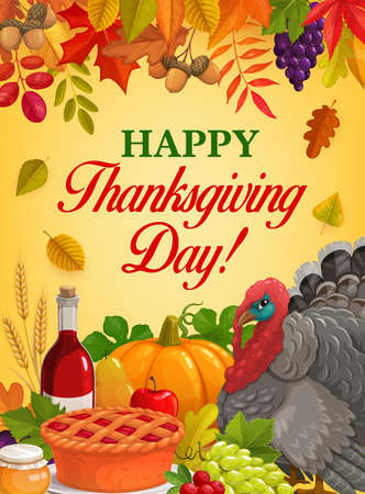 Thanksgiving Day dinner vector design with turkey, autumn harvest pumpkin and fallen leaves, apple pie, honey and wine, cranberries, grapes, wheat and acorn branches. Thanksgiving Day greeting card 向量圖像