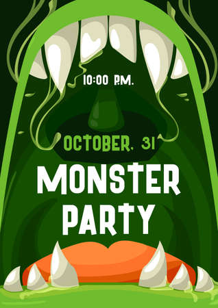 Halloween monster party vector invitation poster with open zombie mouth and teeth frame. Trick or treat horror alien creature creepy laugh with green lips and slime drops, vampire fangs and tongue