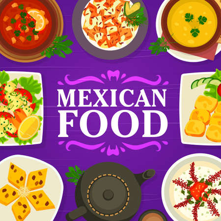 Mexican cuisine food menu, restaurant meals dishes, vector Mexico traditional lunch and dinner. Mexican cuisine food table with tortilla, carne meat with chili pepper, corn bread and vegetables salad