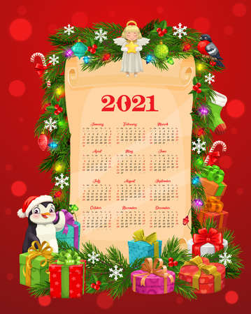 Calendar vector template with Christmas and New Year gifts on old paper scroll. Xmas tree garland, winter holiday presents and snowflakes, candy canes, sock and balls, holly berry, lights, ribbon bows