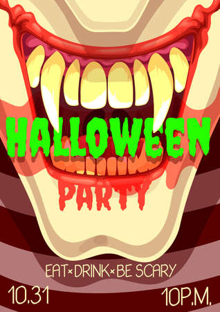 Halloween horror party vector poster of scary clown smile. Spooky monster mouth with vampire teeth and tongue, bloody lips and blood drops invitation design of Halloween trick or treat event
