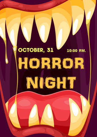 Halloween horror night monster mouth vector frame of trick or treat party invitation poster. Screaming vampire, dracula or alien creature with spooky teeth, fangs, tongue and drops of saliva and slime Vettoriali
