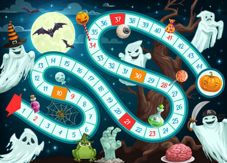 Halloween board game for children vector template of map with path, start, finish and numbered steps. Strategy maze or puzzle tabletop game with cartoon pumpkin, ghosts, bats, spider, moon and zombie