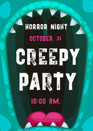 Halloween horror night party vector poster with frame of screaming monster mouth. Scary alien creature, angry zombie or devil beast with open mouth, vampire teeth and red tongue cartoon invitation Vettoriali