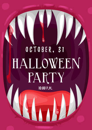Halloween party vector invitation poster in frame of screaming vampire with bloody mouth. Horror holiday Dracula monster devil laugh with sharp teeth and fangs, blood drops and tongue, cartoon invite Vettoriali