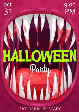 Halloween vampire monster scream vector poster of horror night party invitation. Scary bloody mouth with teeth and blood drops, spooky Dracula, alien mutant animal, demon or devil beasts laugh Vettoriali