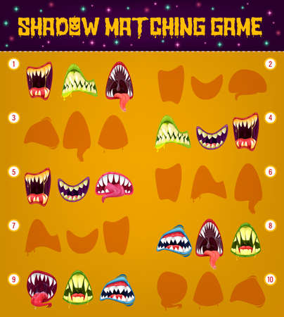 Halloween monster smiles, shadow matching game vector template of kids education puzzle design. Find, compare and connect correct shapes of vampire mouth and alien beast grin silhouettes
