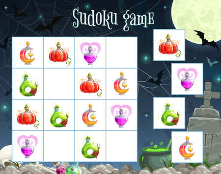 Halloween sudoku game vector template of children education puzzle square with witch potion bottles on cartoon background with cemetery, spider web, bats and full moon. Kid educational activity design Stock fotó - 157903567