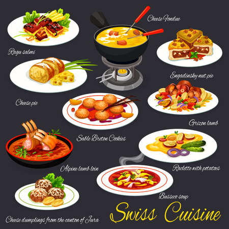 Swiss cuisine meals, meat dishes and desserts vectors. Guinea fowl ragout, raclette with potatoes and alpine lamb loin, engadine nut tart, sable breton cookies and dumplings, cheese fondue, tripe soup 向量圖像