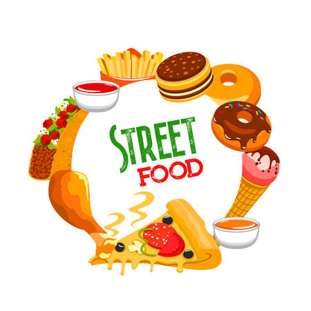 Fast food round banner vector tacos, ketchup and mustard sauce and french fries with donuts, ice cream. Pizza with mushrooms, tomatoes, olives and cheese, chicken leg cartoon frame. Street cafe meals