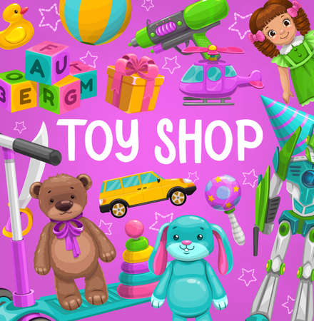 Toy shop vector rubber duck, ball and water gun with doll, cube blocks, gift box and helicopter, scooter and car with soft bear. Baby store playthings stuff rabbit, beanbag and pyramid cartoon poster