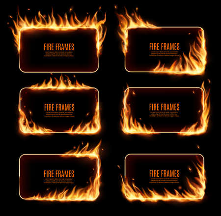 Fire frames, vector rectangular burning borders. Realistic burn flame tongues with flying particles and embers on rectanggle frame edges. 3d flare. Burned holes in fire, isolated blazing borders set