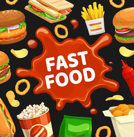Fast food poster, burgers fastfood menu and sandwiches, vector restaurant meals and snacks. Fast food menu hot dog, fries and cheeseburger, nachos chips, chicken nuggets and popcorn 矢量图像