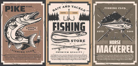 Fishing club and tackle shop poster. Northern pike with open maw, sea or river eel and atlantic horse mackerel, rods, treble fishhook and float vector. Fishing equipment store retro banner