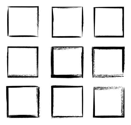 Grunge frames isolated vector black square shape borders with scratched rough edges on white background. Grungy old texture, dirty weathered vignettes for photo frames, decorative design elements set