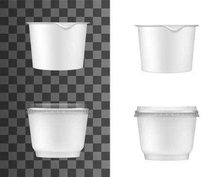 Plastic containers for sour cream, yogurt or jam. Isolated vector white jars with foil and transparent plastic lids. Realistic mockup template for products packaging, Blank food packs design 3d set