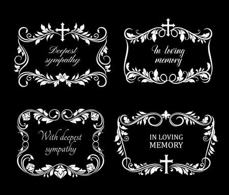 Funeral vector frames with mourning white flowers, flourishes and cross. Floral borders with condolence typography. Obituary mournful funereal monochrome framing floral design with blossoms and leaves
