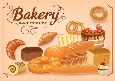 Bakery products vector bread, sweet desserts and pastry. Baked food cake bagel, pretzel and croissants. Bake shop buns and bread loaf with roll, cupcake and toast. Patisserie cafe cartoon poster