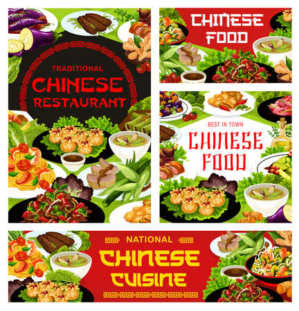 Chinese cuisine restaurant dishes banner. Stir fried beef, wonton, noodles and funchoza salad with shrimps, soup with spicy vegetables, peking duck and bamboo stalks salad, chinese eggplant vector