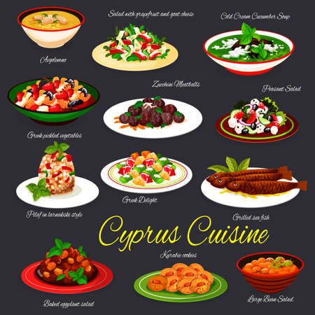 Cyprus cuisine meals, cypriot food dishes vectors. Avgolemono and cold cucumber soup, salad with grapefruit and goat cheese, zucchini meatballs and bulgur pilaf, grilled fish, kourabiedes cookies