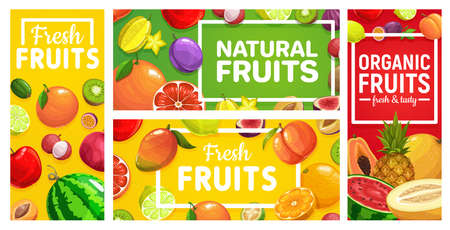 Fruits food orange, tropical pineapple, farm apple, vector posters and banners. Tropical summer exotic fruits mango, peach and lemon, kiwi, banana, apricot and grapefruit, watermelon, melon and lychee