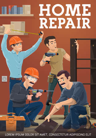 Home repair service workers. Furniture maker assembling wardrobe with electric screwdriver, builder in safety glasses and helmet using drill, laminate or parquet installer, house repair foreman vector