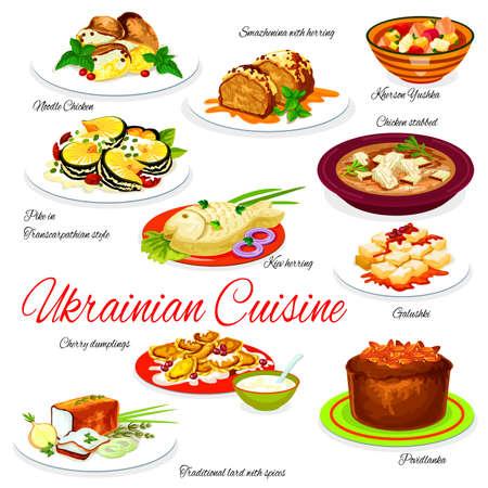 Ukraine food menu vector noodle chicken, smazhenina with herring and kherson yushka, kiev herring, galushki with cherry dumplings. Povidlanka and traditional lard with spices. Ukrainian cuisine dishes Illusztráció